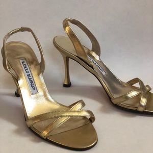 Manolo Blahnik Strappy Gold Heels
